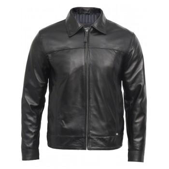Men's Black Leather Jacket - Harrington