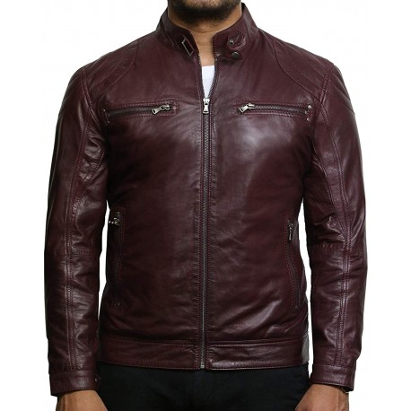 Men's Burgundy Lambskin Genuine Leather Biker Jacket