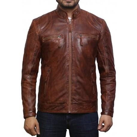 Men's Tan Lambskin Genuine Leather Biker Jacket