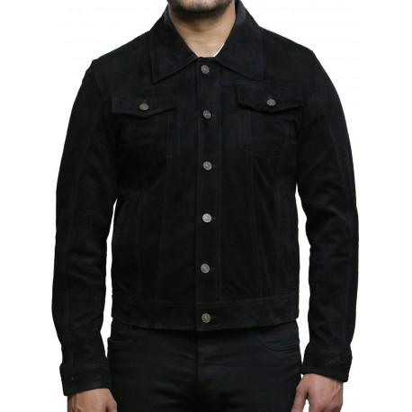 Brandslock Men's Leather Biker Jacket Trucker Casual Black Goat Suede Leather Shirt Denim Jeans Style-Matt