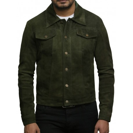 Brandslock Men's Leather Biker Jacket Trucker Casual Green Goat Suede Leather Shirt Denim Jeans Style-Matt