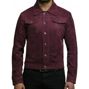 Brandslock Men's Leather Biker Jacket Trucker Casual Burgundy Goat Suede Leather Shirt Denim Jeans Style-Matt