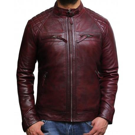 Men's Casual Burgundy Leather Biker Racing Jacket-Arran