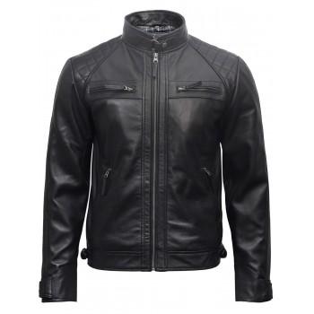 Mens Leather Biker Jacket Black -Arran
