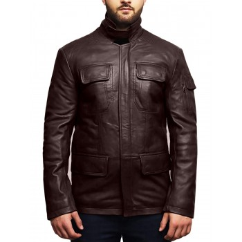 Men's Real Lambskin Leather Jacket Trench Safari Coat Washed