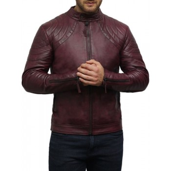 Men's Leather Jacket Waxed Leather Burgundy Leather Biker Jacket
