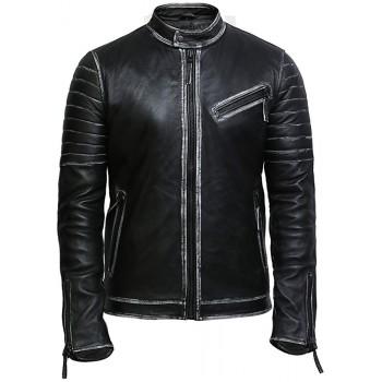 Men's Top Quality Black Distressed Real Leather Biker Jacket
