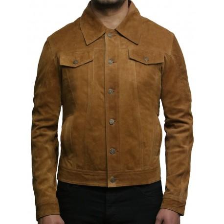 Brandslock Men's Leather Biker Jacket Trucker Casual Tan Goat Suede Leather Shirt Denim Jeans Style-Matt