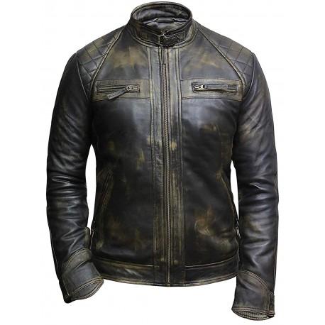 Men's Casual Black Rubb Leather Biker Racing Jacket-Arran