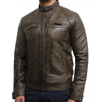 Men's Casual Brown Leather Biker Racing Jacket-Arran