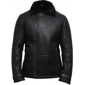 Men's luxury aviator black leather Shearling Sheepskin Flying Coat - Fay
