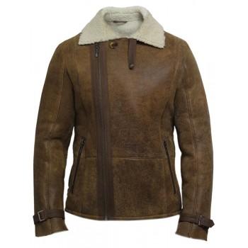 Men's Luxury Shearling Sheepskin Aviator Rust Brown Leather Flying Jacket Coat - Fay