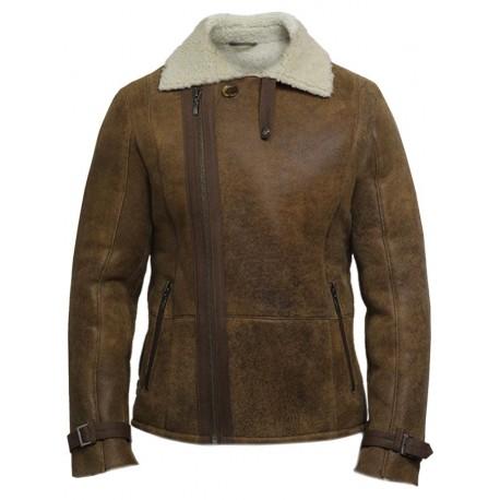 Men's Luxury Double Aviator Rust Brown Real Shearling Sheepskin Leather Flying Jacket Coat - Fay