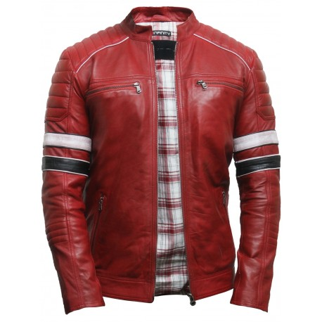 Men's Casual Red Leather Biker Racing Jacket Lamb Nappa Leather Bomber Jacket