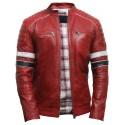 Men's Casual Red Biker Bomber Racing Lamb Nappa Leather Jacket