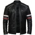 Men's Casual Black Biker Bomber Racing Lamb Nappa Leather Jacket
