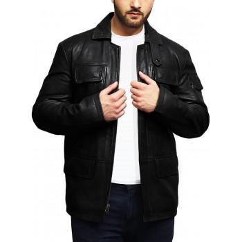 Men's Genuine Lambskin Leather Jacket Trench Safari Coat Washed