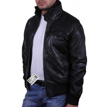 Men's Black Leather Bomber Jacket - Falcon