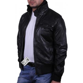 Men's Black Leather Bomber Jacket - Falcon