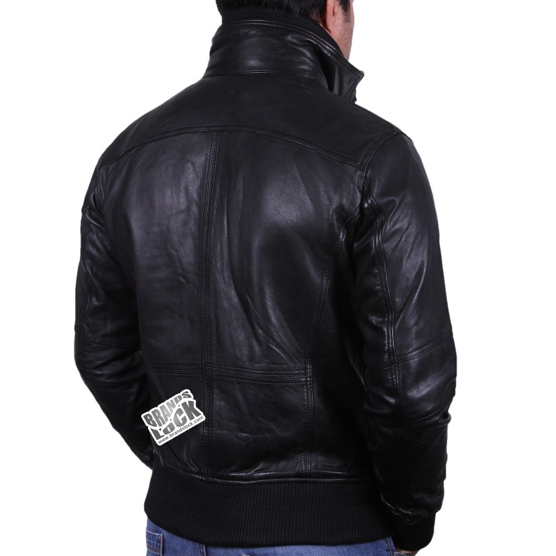 Men S Black Leather Bomber Jacket Falcon