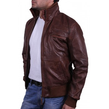 Men's Brown Leather Bomber Jacket - Falcon