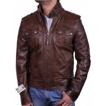 Men's Black Leather Bomber Jacket - Damz