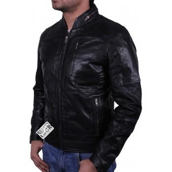 Men's Black Leather Biker Jacket - Calvin